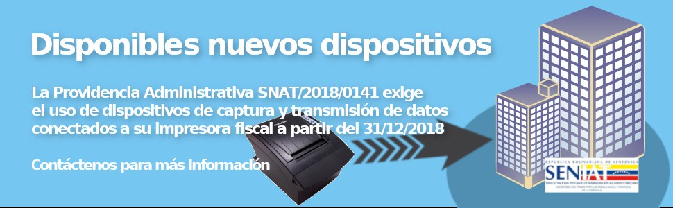 SENIAT dispositivos de captura y tranmisión de datos disponibles en Gesco Software